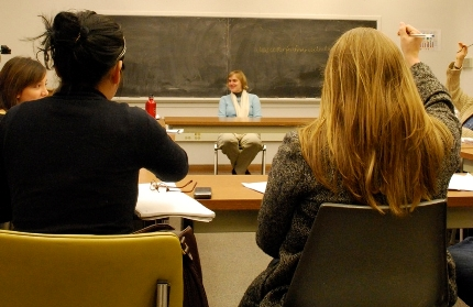 Elisabeth Rhyne takes questions from students during the senior seminar at Beloit.