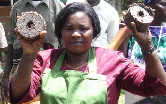 Biomass briquettes made by this Ugandan community