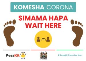 corona social distancing kenya sign